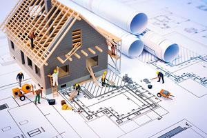 строящийся домик, строители, чертежи