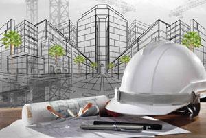 строительная каска и инструменты проектировщика